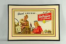 Framed 1940s Medium Dr. Pepper Poster.