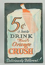 Rare 1930s Orange Crush Cardboard Sign.
