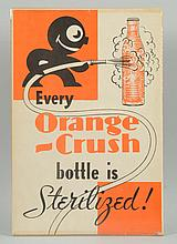 1930s Orange Crush Paper Sign with Crushy.