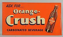 1940s Orange Crush Embossed Tin Sign.