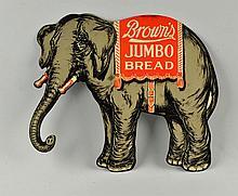 Browns Jumbo Bread Die Cut Tin Litho Sign.