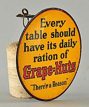 Early Grape Nuts Tin Litho String Holder.