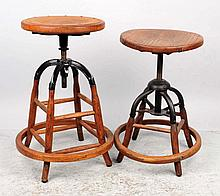Pair of Early Adjustable Oak Counter Stools.