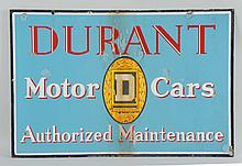 Durant Motor Cars Porcelain Sign.