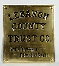 Circa 1890-1900 Lebanon Trust Co. Brass Bank Sign