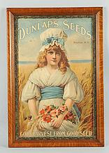 Framed Advertising of Dunlap's Seeds.