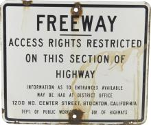 Freeway Access Right Restricted Porcelain Sign