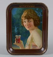 Coca Cola Smiling Girl Tin Serving Tray