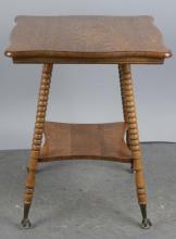 Early American Oak Table With Shelf
