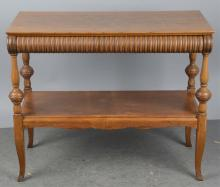 Early G. Davis Oak Table With Shelf & Drawer