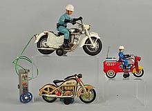 Lot Of 3: Japanese Tin Litho Motorcycle Toys.