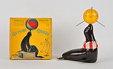 Japanese Tin Litho Circus Queen Seal Space Toy.