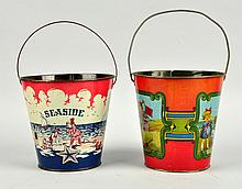 Lot Of 2: Early Tin Litho Beach Themed Sand Pails.