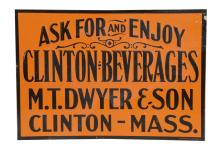 Clinton Beverages Embossed Tin Sign
