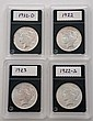 Lot of 4: Peace Silver Dollars.