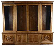 Large Quarter Sawn Oak Light-Up Display Cabinet