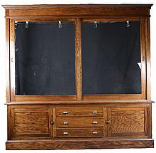 Large Oak Back Bar Hutch Display Cabinet