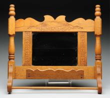Wood Carved Towel Holder With Mirror.