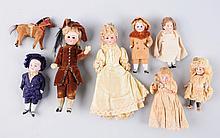 Lot Of 8: Antique Miniature German Bisque Dolls.