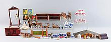 Large Lot Of Miniature Animals, Furniture & Dolls.