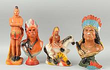Lot Of 4: Indian Chalk Figures.