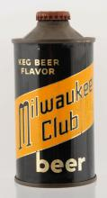 Milwaukee Club Beer Low Profile Cone Top Beer Can.