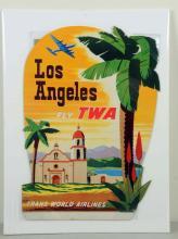 TWA Los Angeles Diecut Easel Back Adv. Sign.