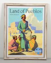 Framed Land Of Pueblos New Mexico Santa Fe Poster.