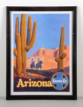 Framed Arizona Travel Poster By Santa Fe Railways.