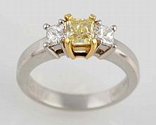 Fancy Yellow & White Diamond Ring.