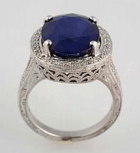 8 ct. Sapphire & Diamond Ring.