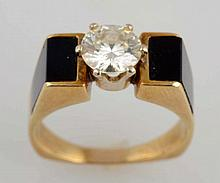 1.00 ct. Diamond & Onyx Solitaire Ring.