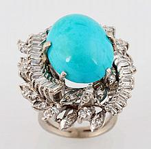 2.50 ct. Diamond & Turquoise Ring.