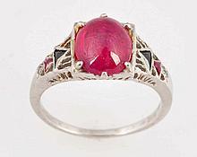 Cabochon Ruby & Onyx Ring.