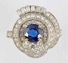 2 ct. Sapphire, Diamond & Platinum Ring.