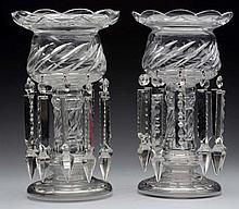 Pair Of English Waterford Style Crystal Lustres.