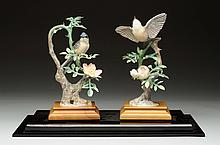 Pair Of Doughy Worcester Porcelain Birds.