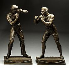 Pair of Spelter Boxing Statues by Arthur Waagen.