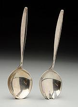 Pair of Georg Jensen Sterling Salad Servers.