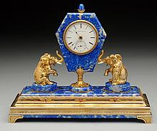 A Silver Gilt Mounted Hardstone Clock.