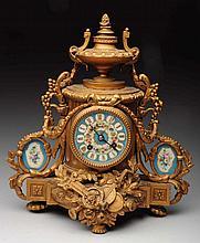 Bronze and Enamel Clock.