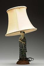 Chinese Export Porcelain Figure Mounted Lamp.