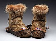Pair Of Handmade Inuit Boots.