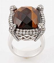 2.25 ct Diamond, Tiger Eye & 18k Gold Ring.