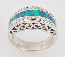 Inlaid Black Opal & Diamond Ring.