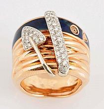 Diamond, 18k & Enamel Ring.