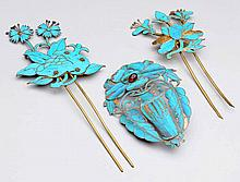 Lot of 3: Chinese King Fisher Hair Pins.