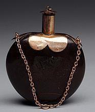 Carved Chestnut & Gilt Snuff Bottle.