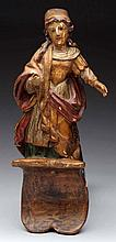 18th Century Carved Wooden Polychrome Figure.