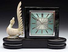 Gubelin Desk Clock With a Jade Peacock.